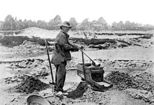 Miner using a cradle