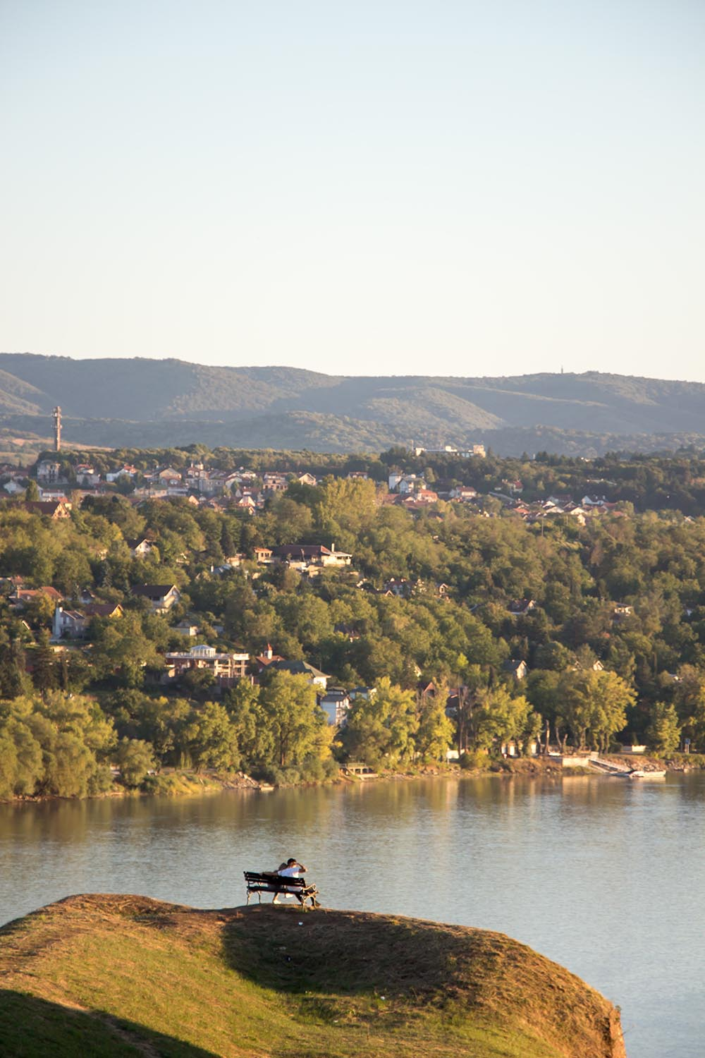 Couple looking at Danube river