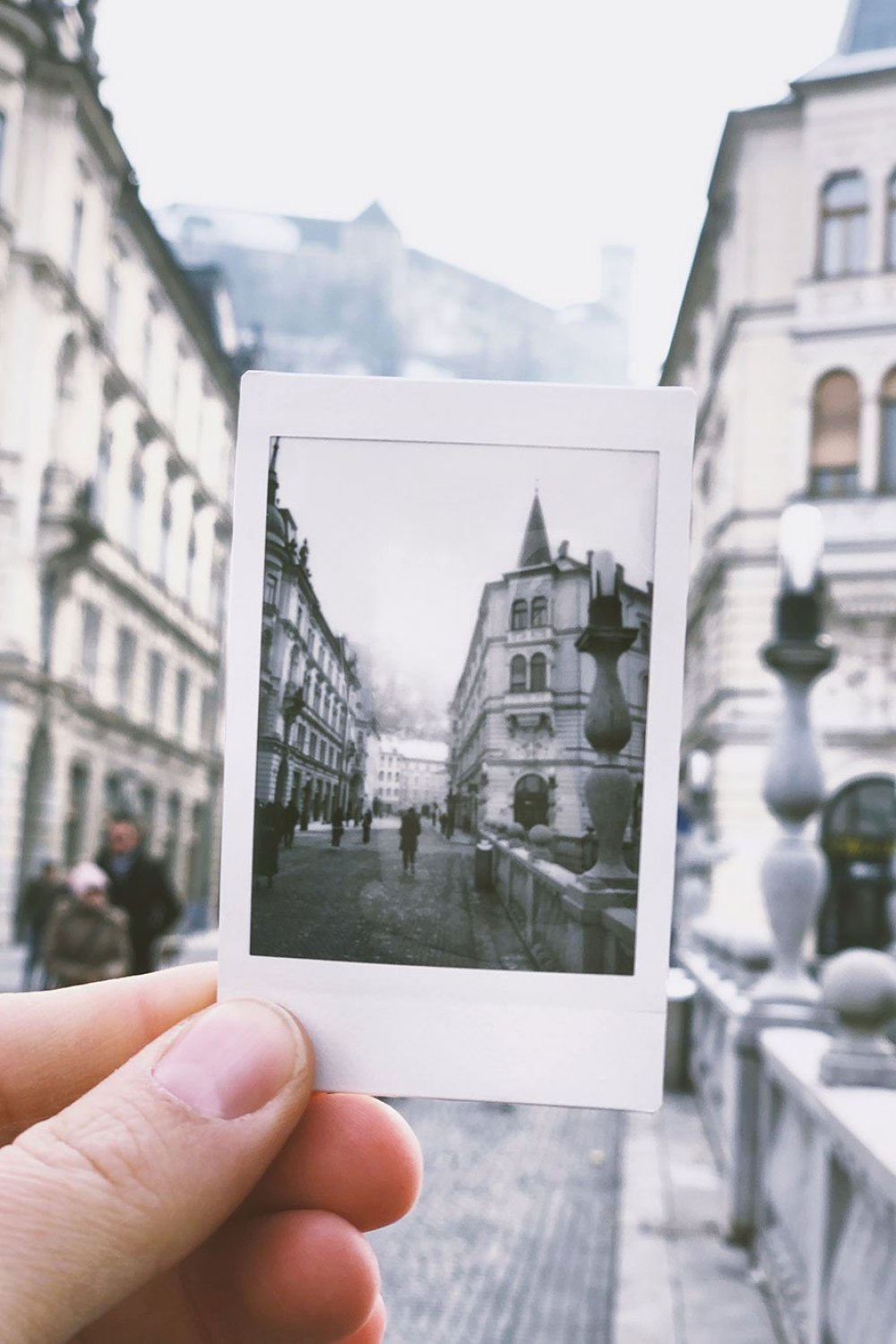 Polaroid of European street