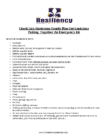 Checklist Family Emergency Plan