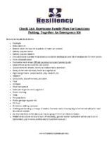 Checklist Family Emergency Plan