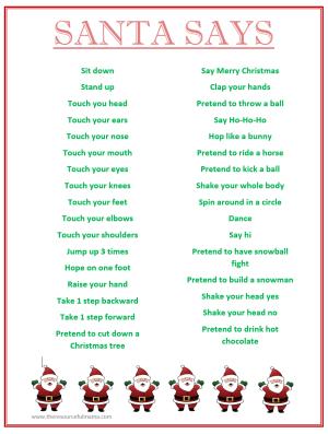 Santa Says Game For Christmas Parties FREE PRINTABLE