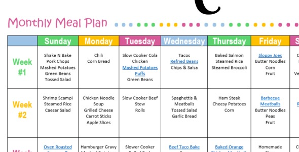 Monthly Meal Plan for Dinner {Free Printable} - The ...