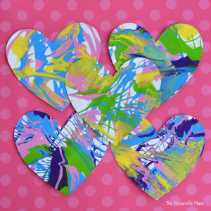 Valentine's Day Spin Art Hearts - The Resourceful Mama