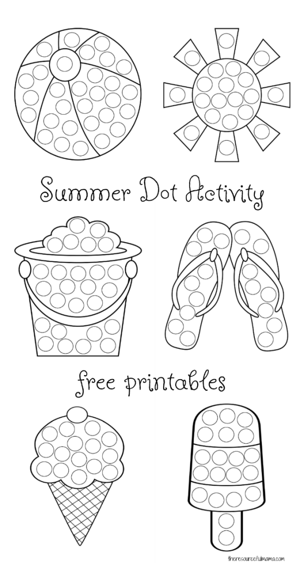 Summer Dot Activity {Free Printables} - The Resourceful Mama