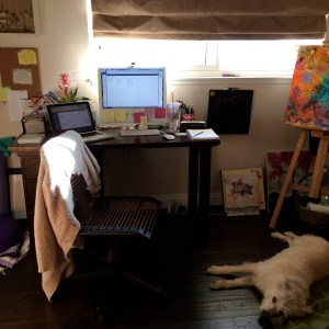 My little creative studio, with canine co-worker Chloe working diligently nearby.