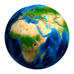 View of the Earth globe from space showing African, European and Asian continents. Image shot 2009. Exact date unknown.