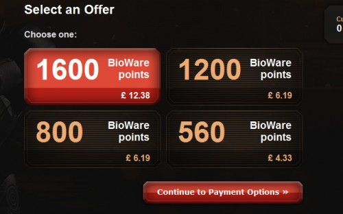 March 2012 - 1200 Bioware Points for the price of 800