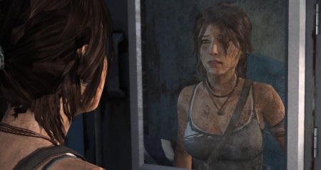 Lara realises how battered she has been on the island.