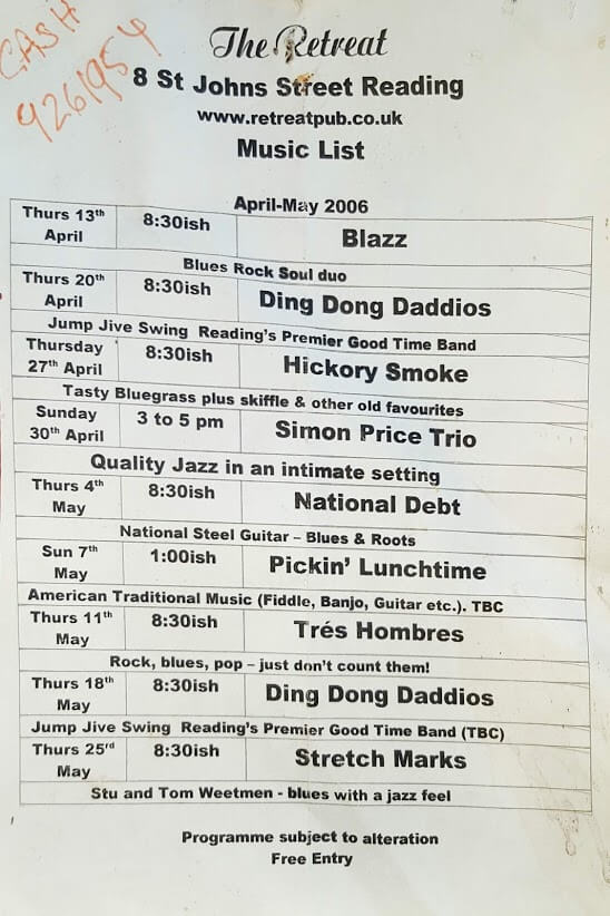The Retreat music list from April 2006