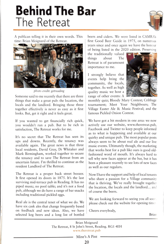 CAMRA Mine's A Pint featuring Brian Moignard and The Retreat pub in Reading