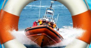 Lifeboat speeding through waves