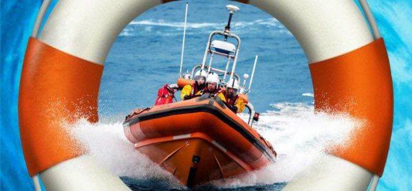 Lifeboat speeding through waves