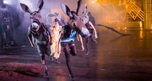 Pinocchio runs among dancers dressed as Donkeys