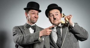 Two men dressed as Laurel & Hardy