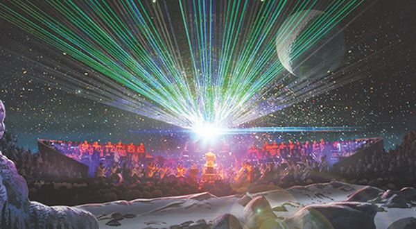 A spacescape including an orchestra and choir