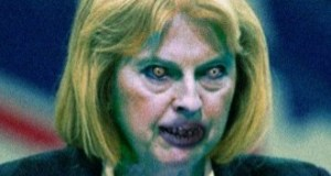 Theresa May as a zombie