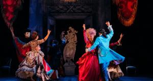 people in regency dress dancing