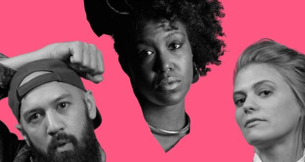 man two women on shocking pink background