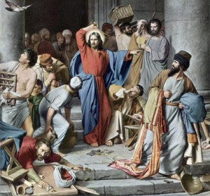 Circa 30 AD, Jesus Christ drives the money changers from the temple, saying that they have made the Lord's house a den of robbers. Original Artwork: Painting by Carl Bloch (Photo by Rischgitz/Getty Images)