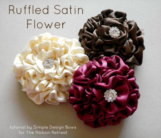 Ruffled Satin Flower Tutorial   The Ribbon Retreat Blog Ruffled Satin Flower Tutorial    The Ribbon Retreat Blog