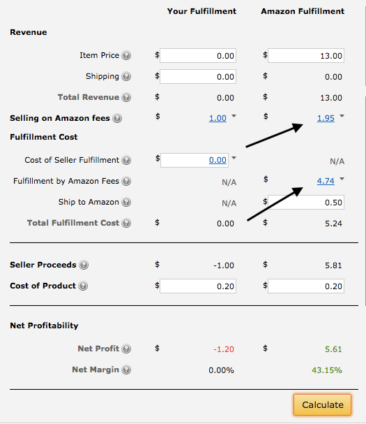 FBA calculator on amazon.com to calculate your costs.