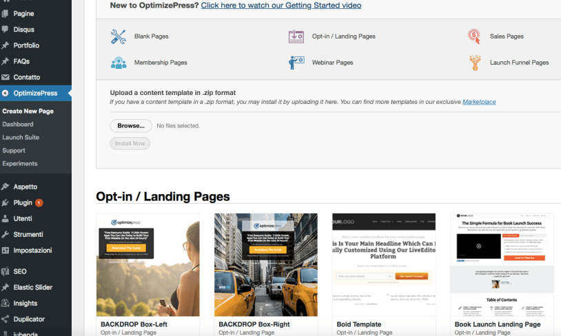 OptimizePress plugin let you choose different kinds of landing page.
