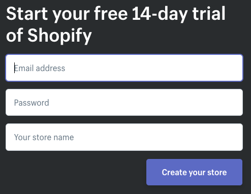 shopify free trial sign up