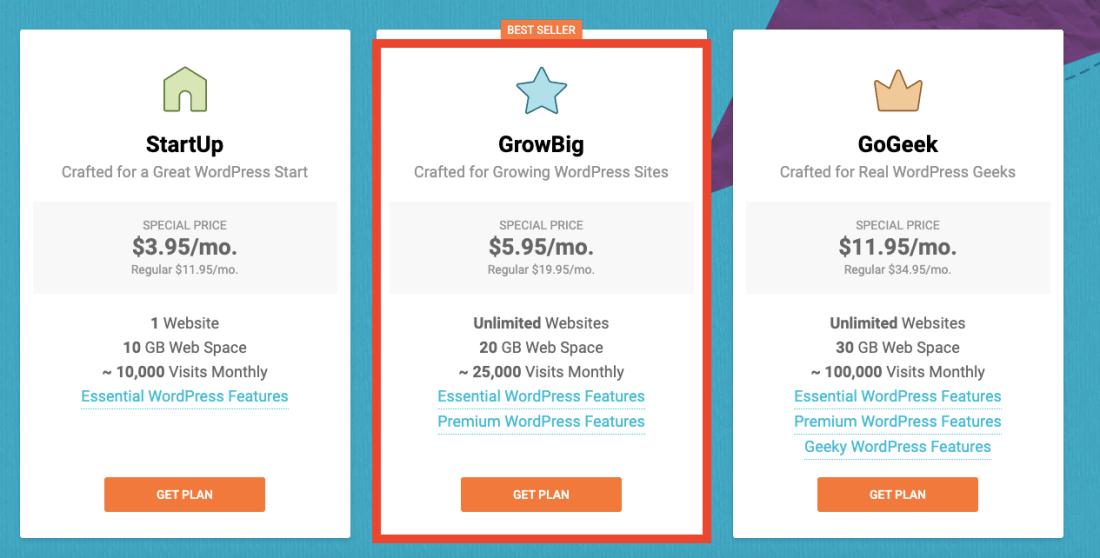 choosing an hosting plan on SiteGround