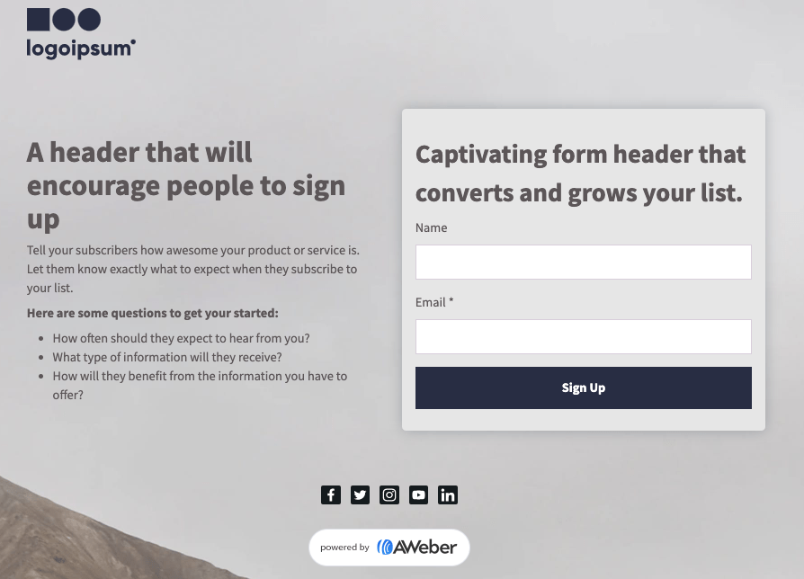 aweber landing page template example
