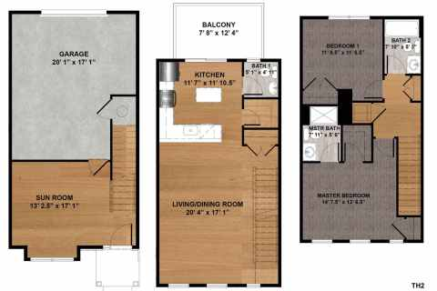 2 Bed / 2.5 Bath / 1,396 sq ft