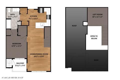 1 Bed / 1 Bath / 914 sq ft