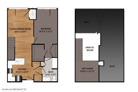 1 Bed / 1 Bath / 977 sq ft