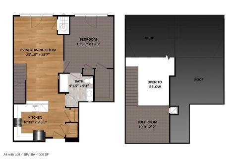 1 Bed / 1 Bath / 1,009 sq ft