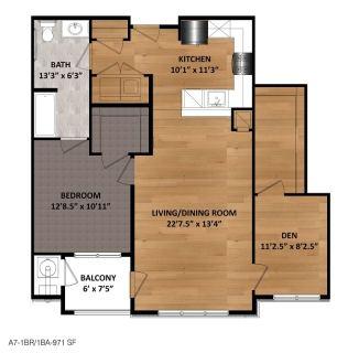 1 Bed / 1 Bath / 971 sq ft