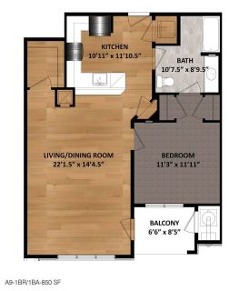1 Bed / 1 Bath / 850 sq ft