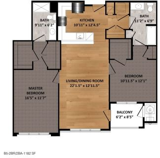 2 Bed / 2 Bath / 1,182ft²