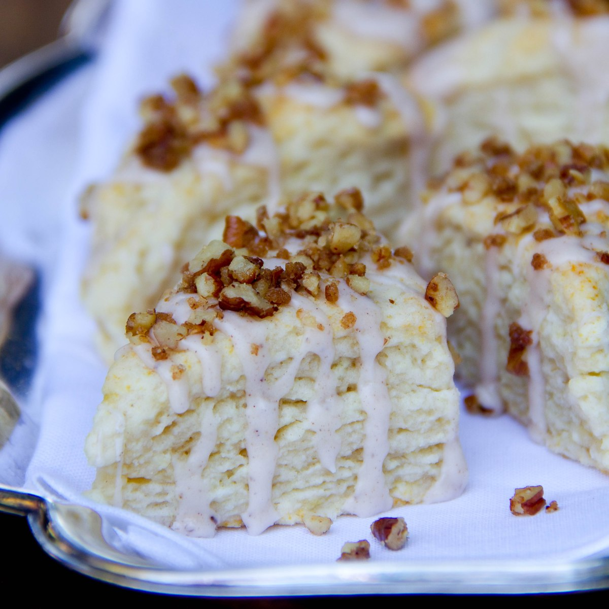 Banana Scones with Spiced Pecan Glaze
