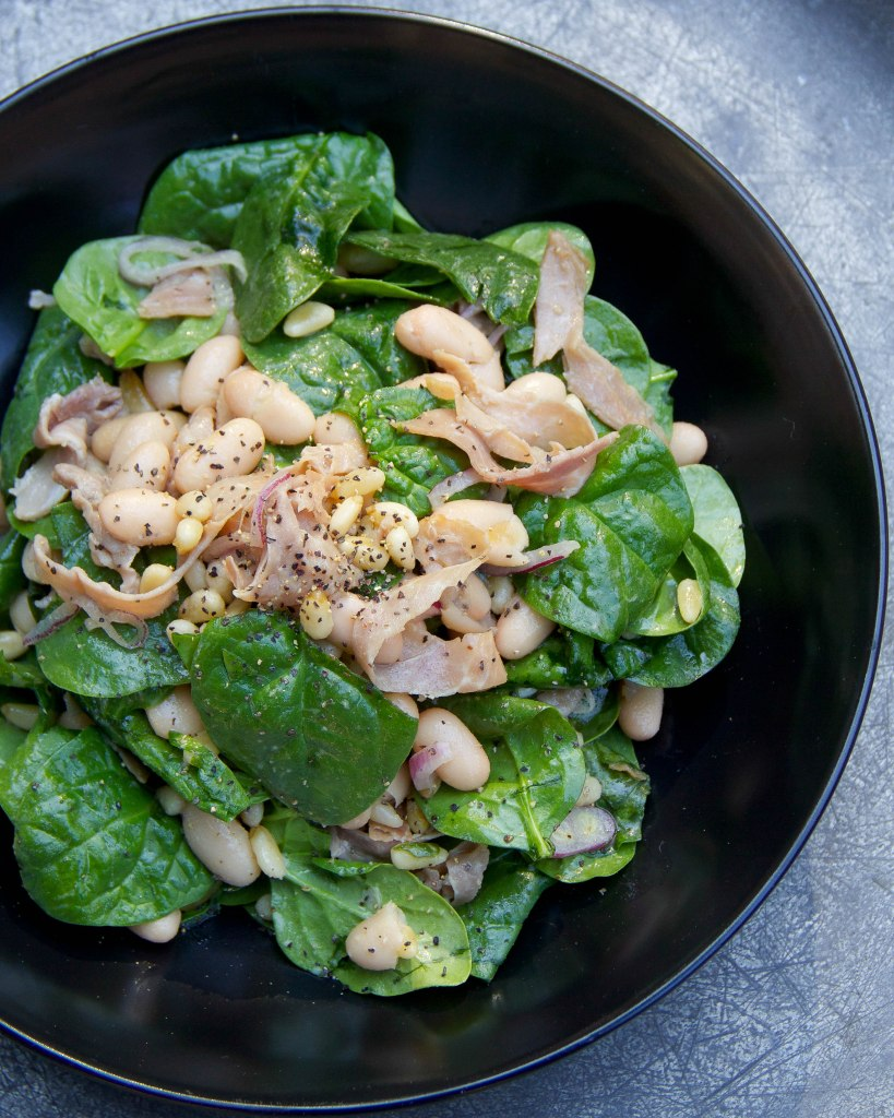Spinach Salad with Cannellini and a Maple Vinaigrette