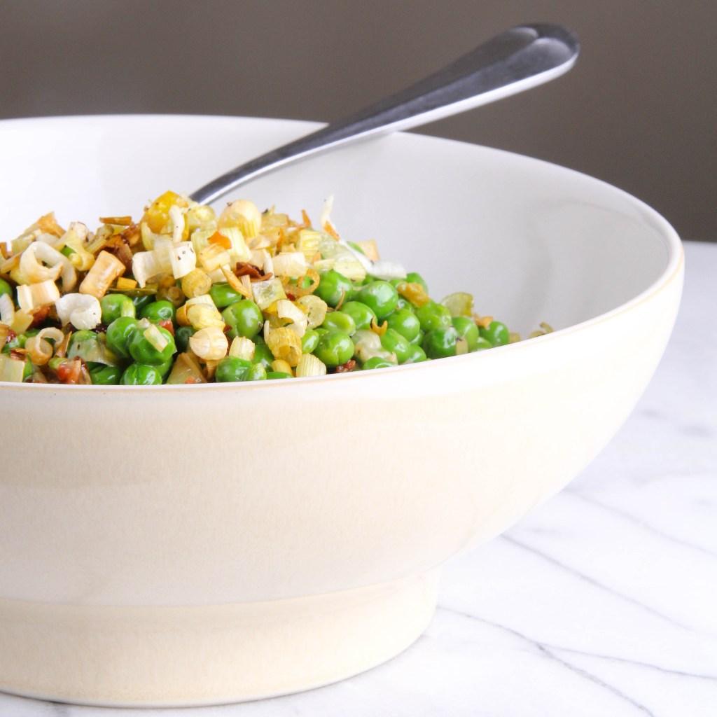 peas with crispy leeks