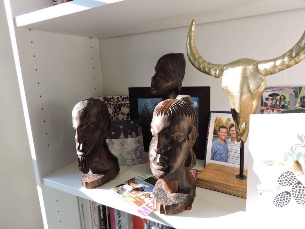 African figurines, book shelf