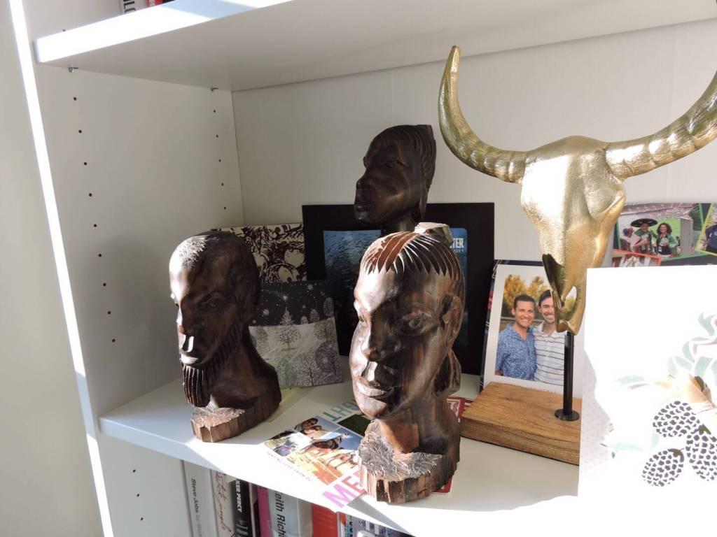 African figurines, book shelf