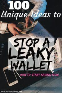 100 Unique Ideas to Stops a Leaky Wallet. Start Saving Now. The Rising Damsel #girlboss #saver #savemoney #money #finances #momblog