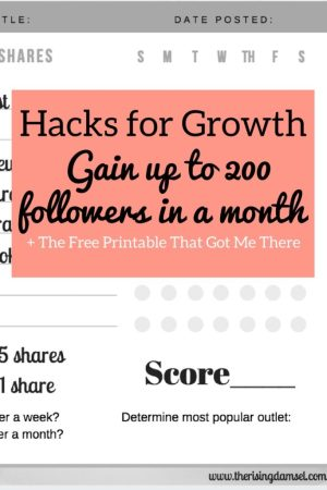 Hacks for Growth. Gain 200 followers in a month with this printable. The Rising Damsel