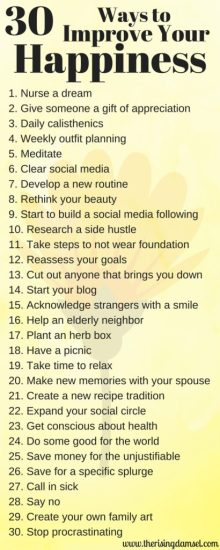 30 Ways to Improve Your Happiness. The Rising Damsel #tips #happiness #selfworth #love