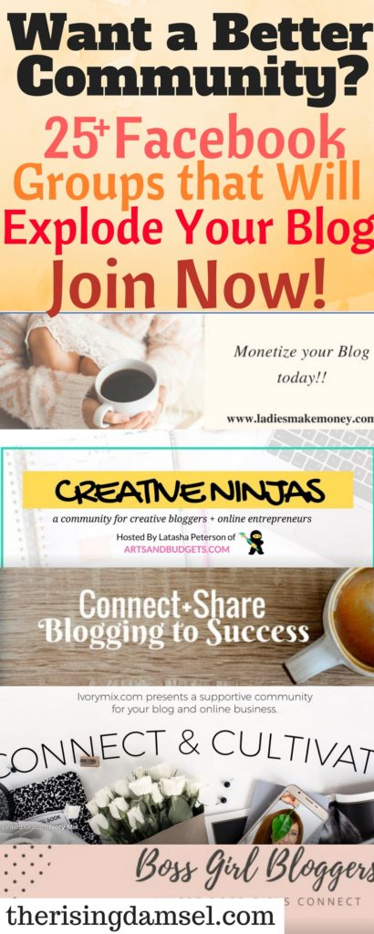 25+ Facebook Groups for you blog or business growth. The Rising Damsel