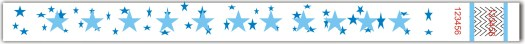 Blue stars Tyvek Wristband 3.25 x 10 in. with safety UV Ink