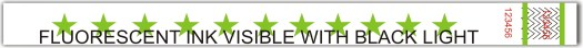 Green stars tyvek wristband 3.25 x 10 in. With Flourestcent Ink.