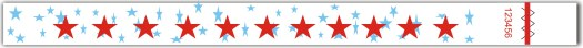 Red stars tyvek wristbands 3.25 x 10 in. with safety UV ink