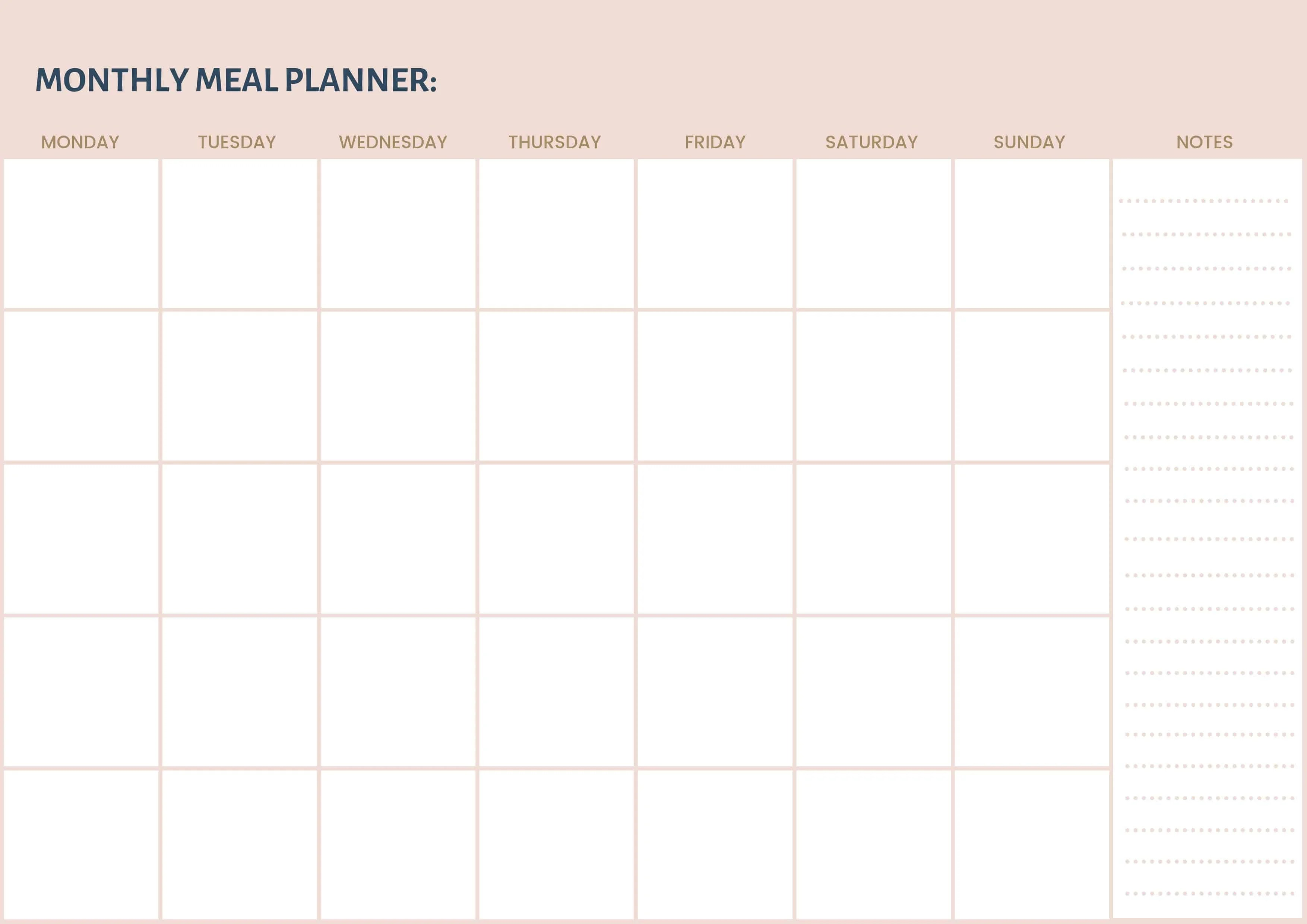 Monthly Meal Planner Free Printable